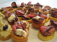Canap s served weddings birthdays parties outside events for Pastry canape fillings